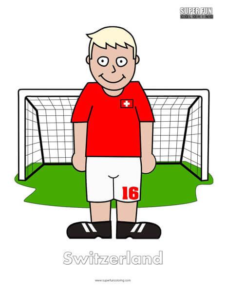 Switzerland Cartoon Football Coloring Page