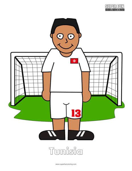Tunisia Cartoon Football Coloring Page
