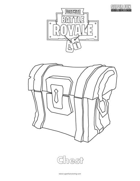 Chest Fortnite Coloring Page
