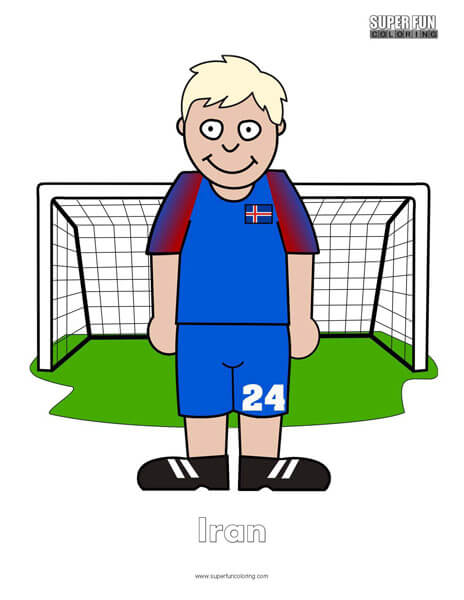 Iceland Cartoon Football Coloring Page