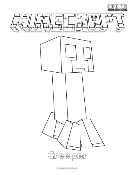 Minecraft Creeper Coloring Page Super