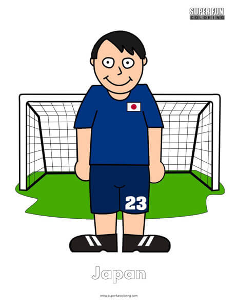 Japan Cartoon Football Coloring Page