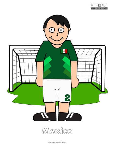 Mexico Cartoon Football Coloring Page