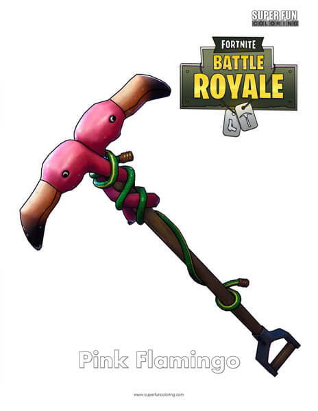 Pink Flamingo Fortnite Coloring Page