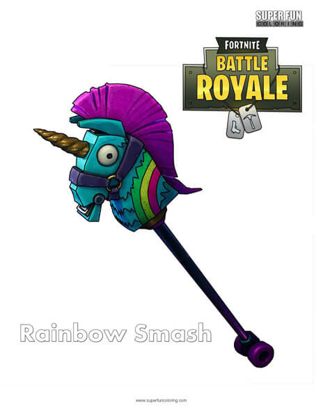 Rainbow Smash Fortnite Coloring Page