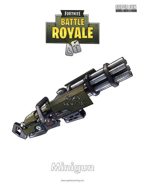 Minigun Fortnite Coloring Page