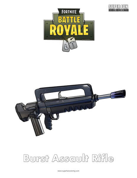 Burst Assault Rifle Fortnite Coloring Page