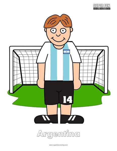 Argentina Cartoon Football Coloring Page