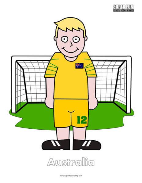 Australia Cartoon Football Coloring Page