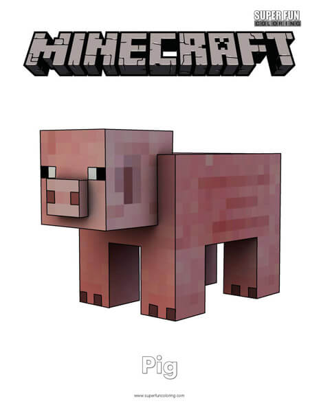 Minecraft Pig Coloring Page