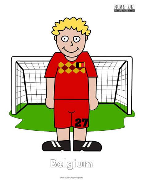 Belgium Cartoon Football Coloring Page