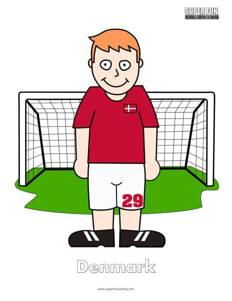 Denmark Cartoon Football Coloring Page