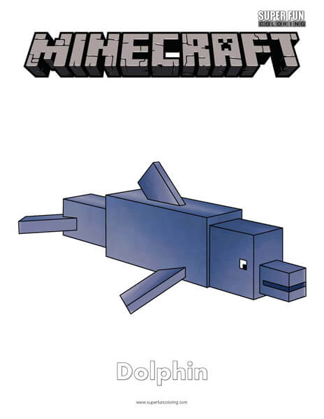 Minecraft Dolphin Coloring Page