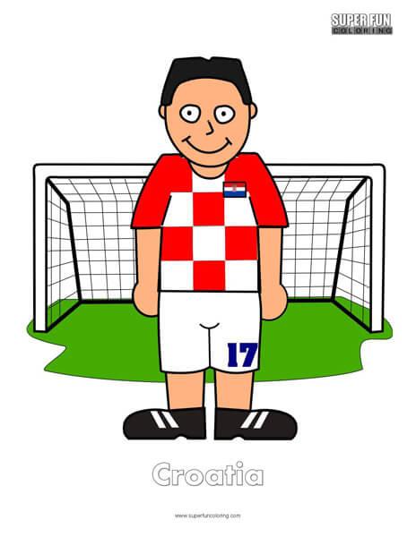 Croatia Cartoon Football Coloring Page