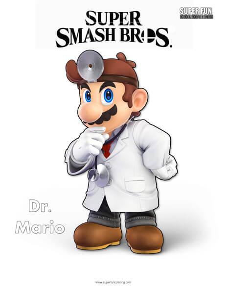 Dr. Mario- Super Smash Bros. Ultimate Nintendo Coloring Page