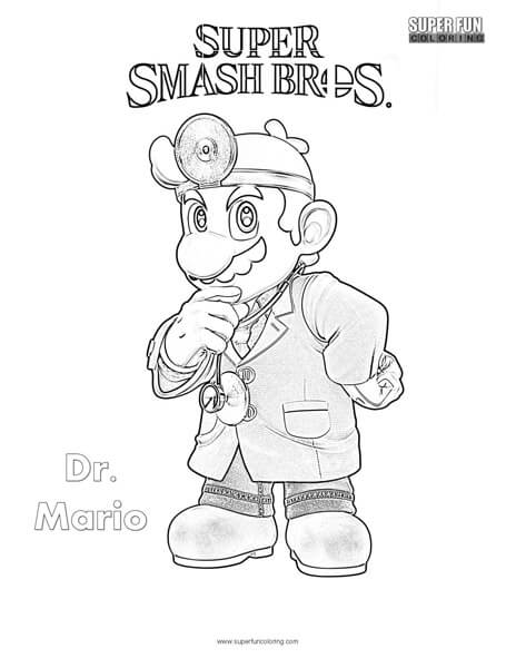 Dr. Mario- Super Smash Brothers Coloring Page
