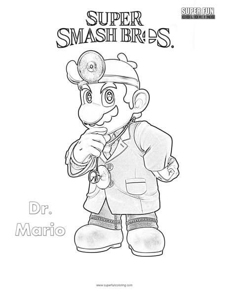 - Dr Mario- Super Smash Brothers Coloring Page - Super Fun Coloring