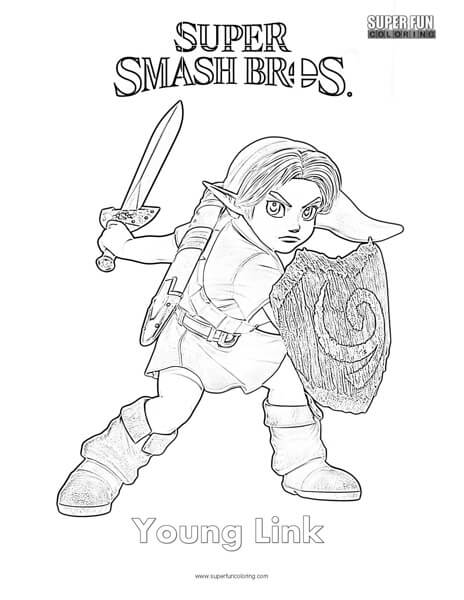 Young Link Super Smash Brothers Coloring Page Super Fun Coloring