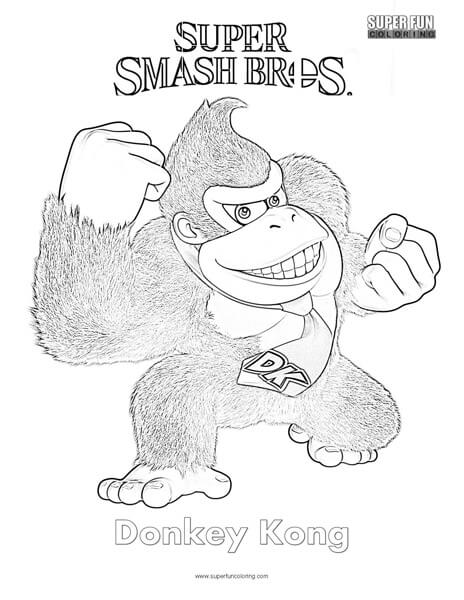 Donkey Kong- Super Smash Brothers Coloring Page