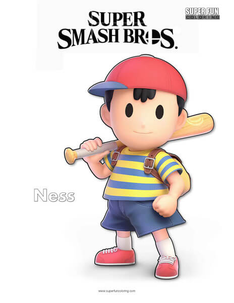Ness- Super Smash Bros. Ultimate Nintendo Coloring Page