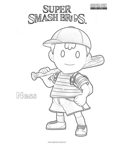 Ness- Super Smash Brothers Coloring Page