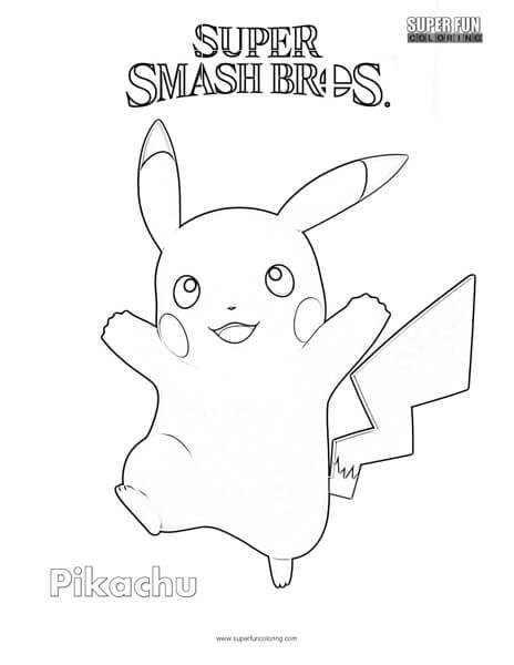 Pikachu- Super Smash Brothers Coloring Page - Super Fun ...