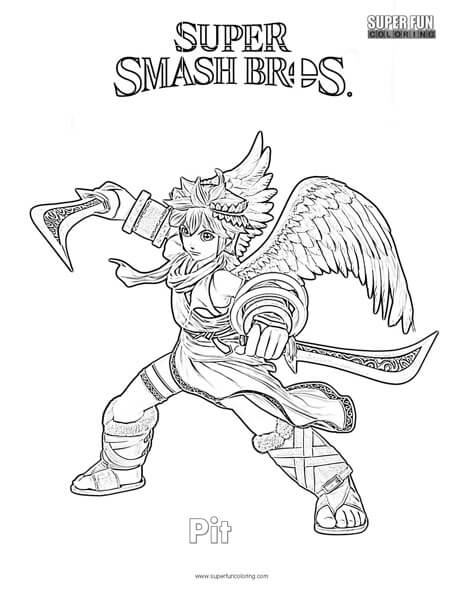 Pit- Super Smash Brothers Coloring Page