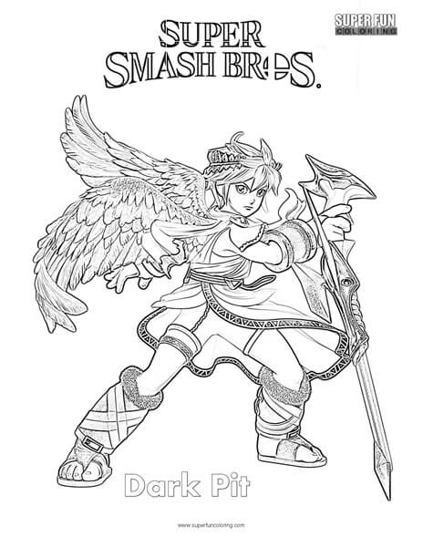 Dark Pit- Super Smash Brothers Coloring Page
