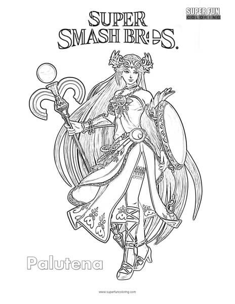 Palutena Super Smash Brothers Coloring Page Super Fun