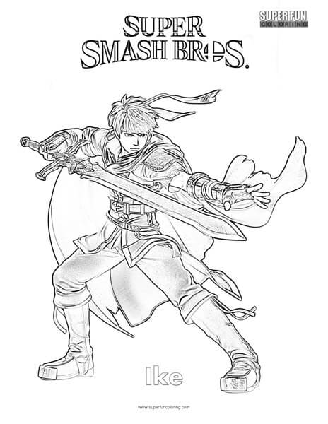 Ike- Super Smash Brothers Coloring Page