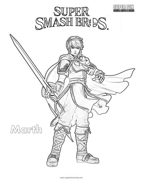 Marth- Super Smash Brothers Coloring Page