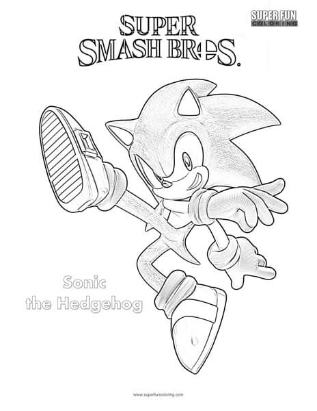 Sonic The Hedgehog- Super Smash Brothers Coloring Page - Super Fun Coloring