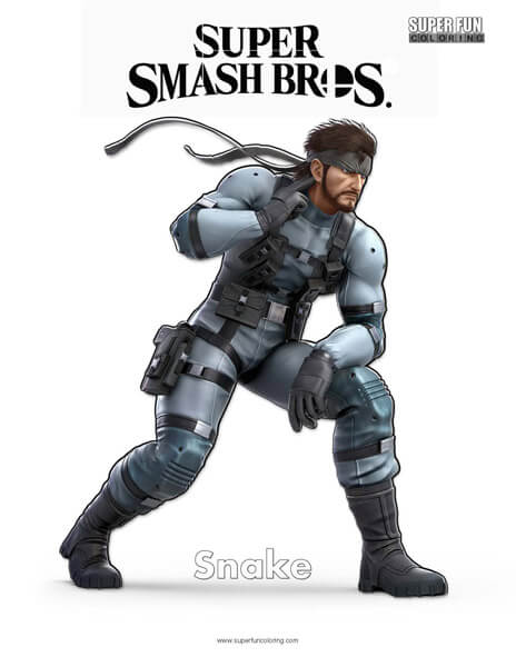 Snake- Super Smash Bros. Ultimate Nintendo Coloring Page