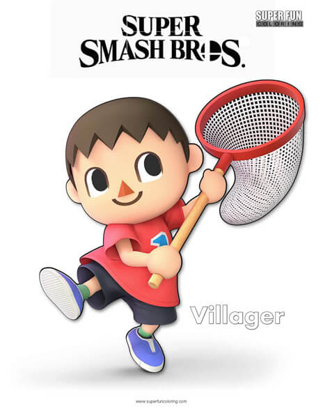 Villager- Super Smash Bros. Ultimate Nintendo Coloring Page