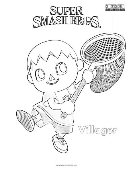 Villager- Super Smash Brothers Coloring Page