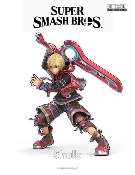Shulk Super Smash Brothers Coloring Page Super Fun Coloring