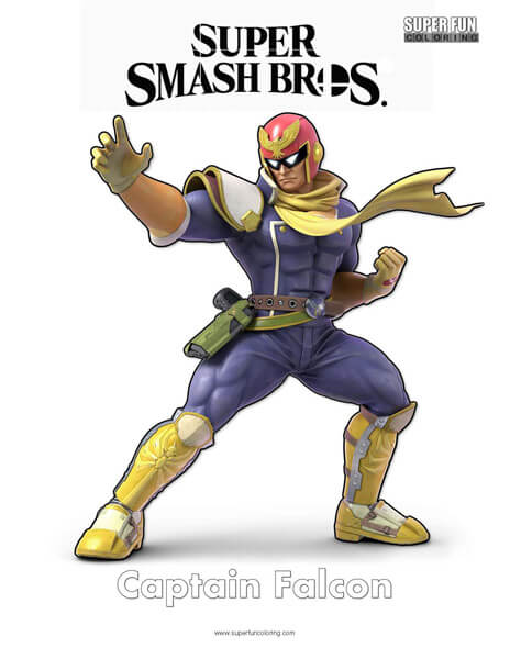 Captain Falcon- Super Smash Bros. Ultimate Nintendo Coloring Page