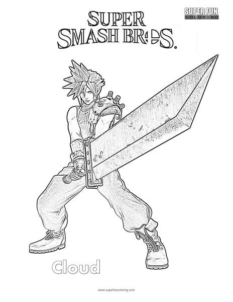Cloud- Super Smash Brothers Coloring Page