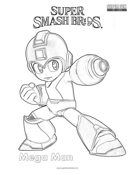 Mega Man Super Smash Brothers Coloring Page Super Fun Coloring