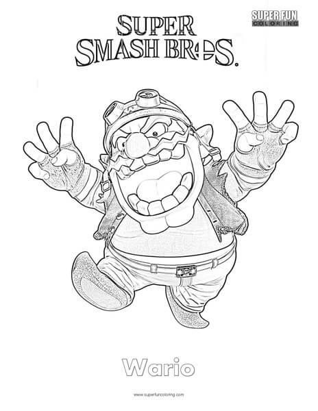 Wario- Super Smash Brothers Coloring Page