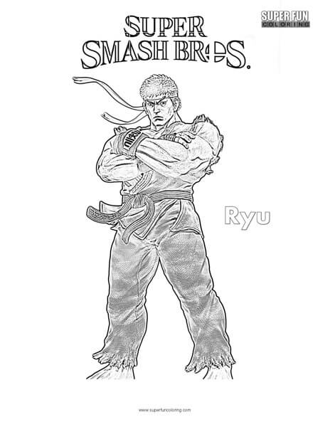 Ryu- Super Smash Brothers Coloring Page