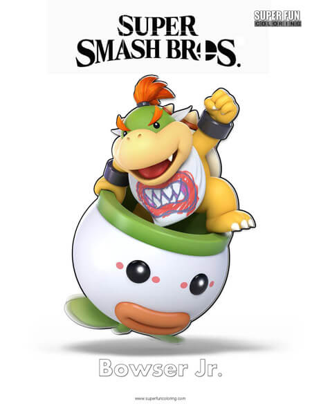 Bowser Jr Super Smash Brothers Coloring Page Super Fun