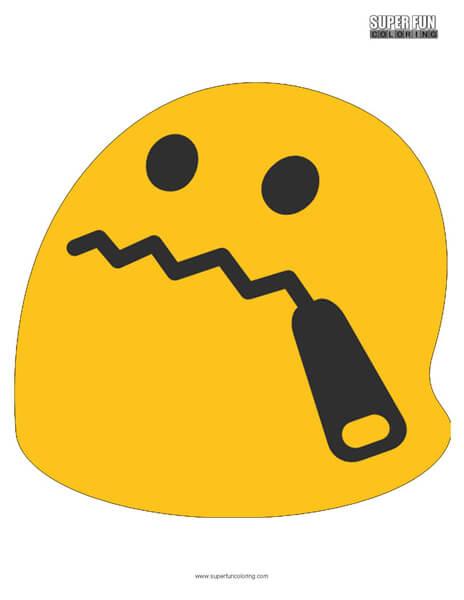 Google Hushed Emoji Coloring Page