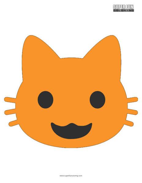 Google Smiling Cat Emoji Coloring Page