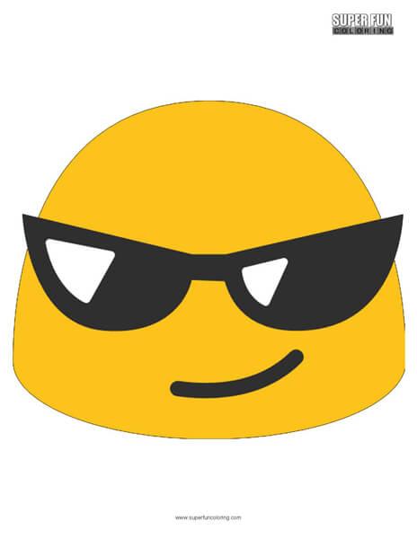 Google Sunglasses Emoji Coloring Page