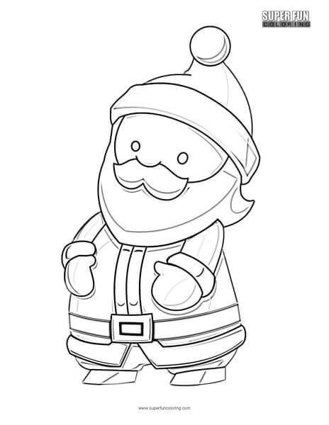 Cartoon Santa Christmas Coloring Page