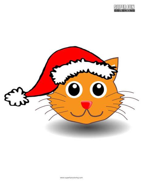 Santa Kitty Christmas Coloring Page
