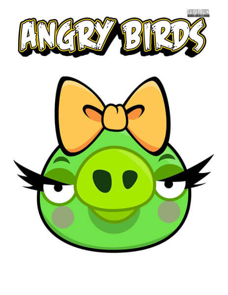 Female Pig Angry Birds Coloring Page