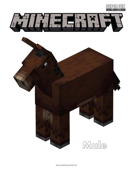 Minecraft Mule Coloring Page