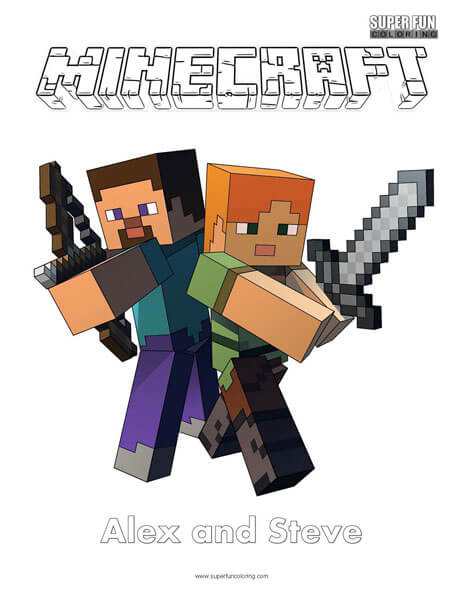 Minecraft Alex and Steve Coloring Page